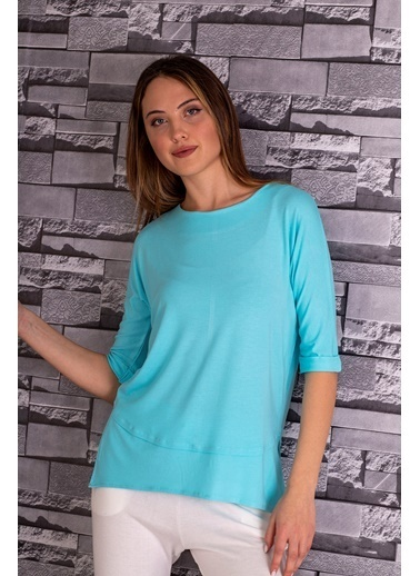 Stamina  Bayan Açık Bisiket Yaka Yarım Kollu Bluz-5VS15 Turkuaz